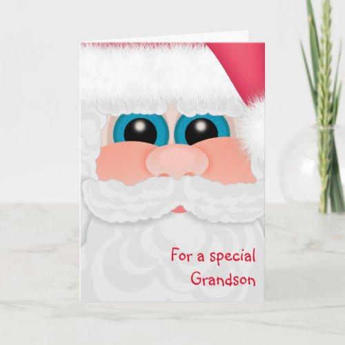 Grandson at Christmas Cute Santa Face Holiday Card