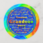 """Grandson Award Birthday Fireworks Card<br><div class=""""desc"""">Brightly painted background in colors of red, green, blues and yellow provides a cheerful feel for greatest grandson award design on a round card. Round cards are much fun and a unique way to say happy birthday. Colorful fireworks spread out from a deep blue disk. Front of card contains words...</div>"""