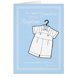Grandson, Baptism Suit on Baby Blue Card