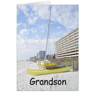 GRANDSON BEACH BIRTHDAY-ENJOY YOUR DAY CARD