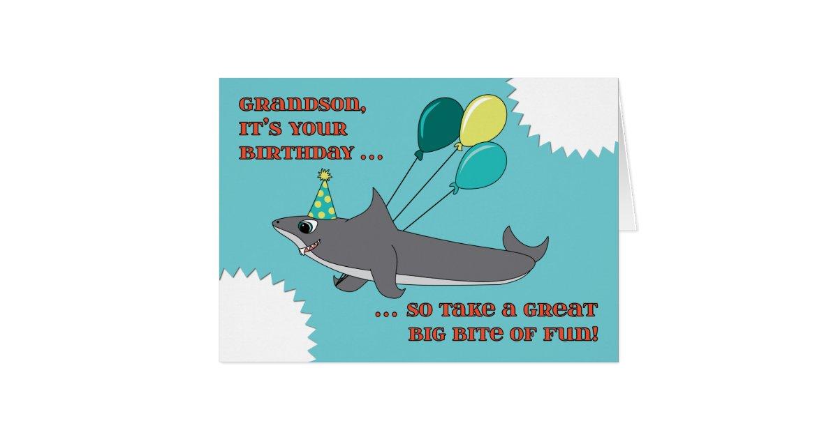 Grandson Big Shark Bite Happy Birthday Card Zazzle Com