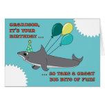 Grandson Big Shark Bite Happy Birthday Cards