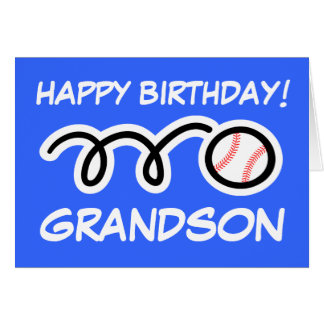 Grandson Birthday card with baseball sports design