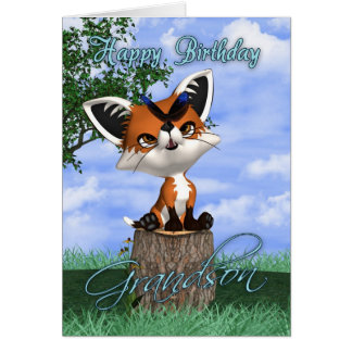 Grandson Birthday Card With Cute Fox And Butterfly