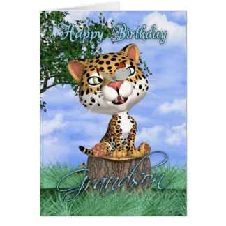 Grandson Birthday Card With Cute Jaguar And Butter
