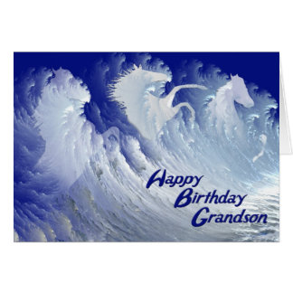 Grandson birthday card with white horses
