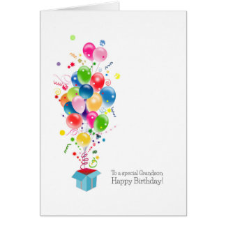 Grandson Birthday Cards Colorful Balloons