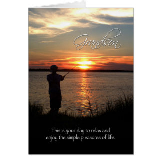 Grandson Birthday, Sunset Fishing Silhouette Greeting Card