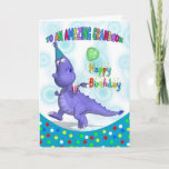 "Grandson Birthday With Purple Dragon Card<br><div class=""desc"">A unique design that's lots of fun,  with a happy Purple Dragon in party hat,  holding his soda and balloon,  a great card for the little ones with lots of fab colors,  sure to bring a smile to any face</div>"