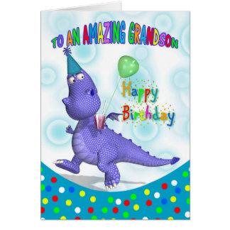 Grandson Birthday With Purple Dragon Card