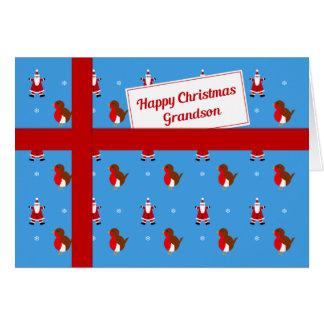 Grandson blue Christmas parcel Greeting Card