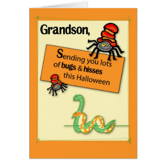 Grandson Bugs and Hisses Halloween Card