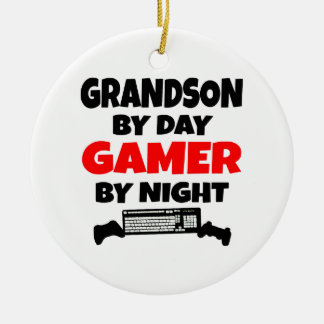 Grandson by Day Gamer by Night Ceramic Ornament