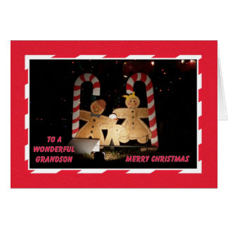 Grandson Christmas Card -- Gingerbread Family