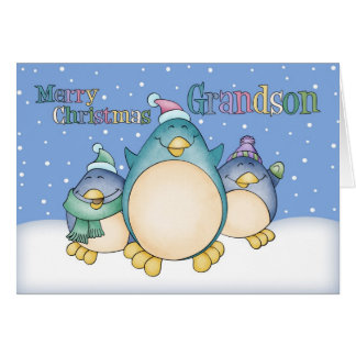 Grandson Christmas Card With Penguins