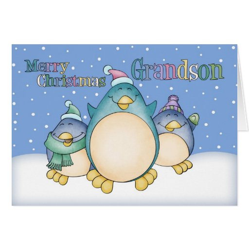Grandson christmas card with penguins zazzle for Penguin christmas cards homemade