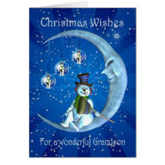grandson christmas card with snowman at Zazzle