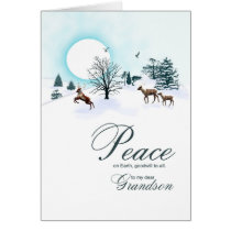 Grandson, Christmas scene with reindeer Card