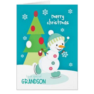 Grandson Christmas Snowman Ice Skating Greeting Card