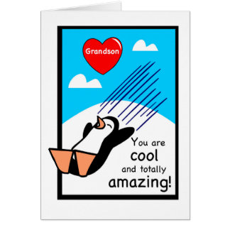 Grandson Cool Valentine Penguin Card
