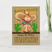 Grandson Cowboy Birthday Card - Rootin' Tootin' Bi