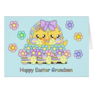 Grandson Cute Easter Chicks In A Basket With Decor Card