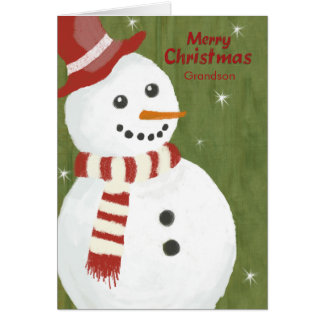 Grandson Cute Snowman in Red Hat and Scarf Greeting Card