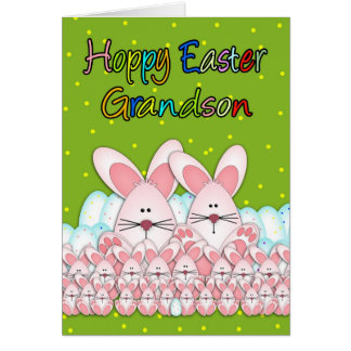 Grandson Easter Card With Easter Bunnies And Eggs