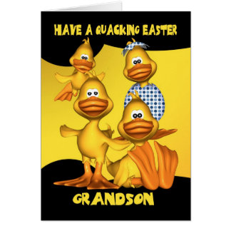 Grandson, Easter Card With Fun Ducks, Quacking Eas