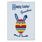 Grandson Easter egg bunny blue Card