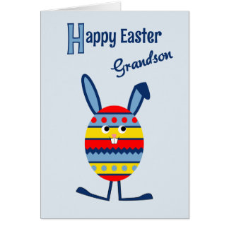 Grandson Easter egg bunny blue Card