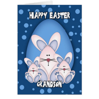 Grandson Easter Greeting Card With Cute Rabbits