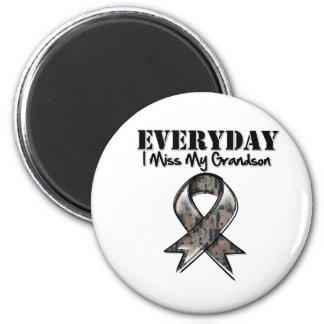 Grandson - Everyday I Miss My Hero Military 2 Inch Round Magnet