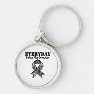 Grandson - Everyday I Miss My Hero Military Silver-Colored Round Keychain