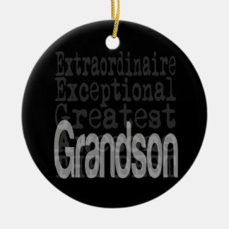 Grandson Extraordinaire Double-Sided Ceramic Round Christmas Ornament