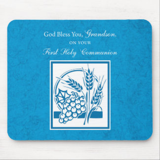 Grandson First Communion Blue, Wheat, Grapes Mouse Pad