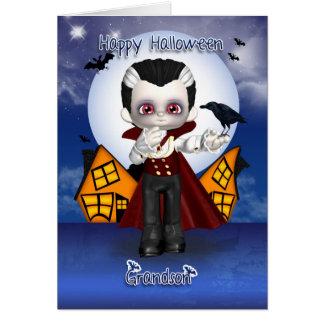 grandson fun vampire halloween greeting card