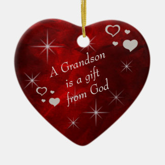 Grandson Gift Heart Keepsake Ceramic Ornament