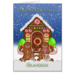 Grandson Gingerbread House and Family Christmas Gr Greeting Card