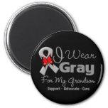 Grandson - Gray Ribbon Awareness Fridge Magnets