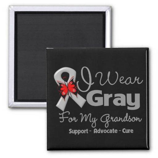 Grandson - Gray Ribbon Awareness Magnets