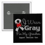Grandson - Gray Ribbon Awareness Pinback Button