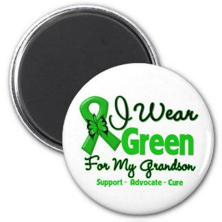 Grandson - Green  Awareness Ribbon 2 Inch Round Magnet