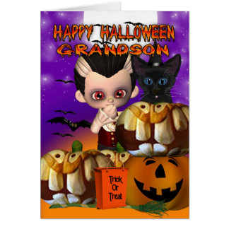 Grandson Halloween vampire cat pumpkin jack o lant Card
