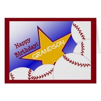 Grandson - Happy Birthday Baseball Loving Grandson Card
