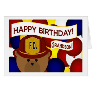 Grandson - Happy Birthday Firefighter Hero! Card