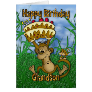 Grandson Happy Birthday with monkey holding cake Card
