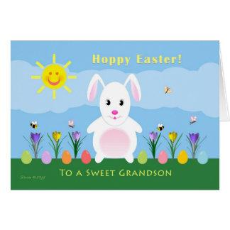 Grandson Hoppy Easter - Easter Bunny Greeting Card