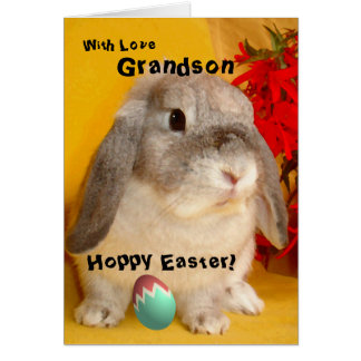 Grandson / Hoppy Easter - Painted Easter Bunny Card