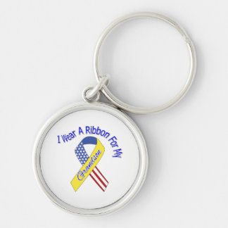 Grandson - I Wear A Ribbon Military Patriotic Silver-Colored Round Keychain
